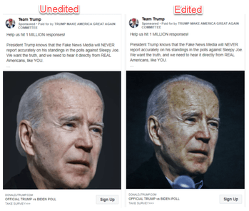 Facebook has allowed the Trump campaign to run ads with doctored photos of Joe Biden.