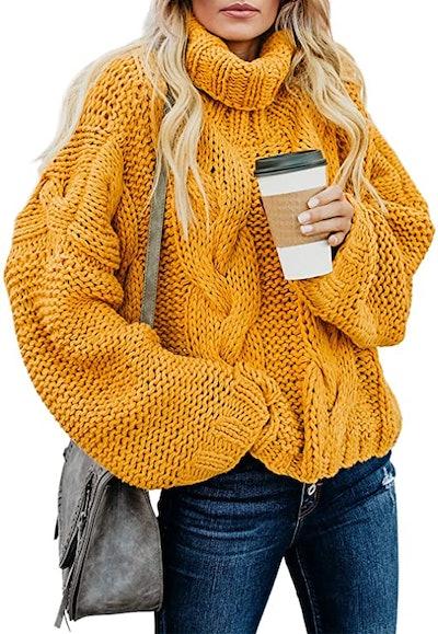 ZKESS Turtleneck Chunky Knit Pullover Sweater