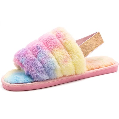 Techcity Open Toe Faux Fur House Shoes With Elastic Strap