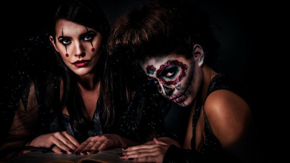 2 young women in spooky Halloween makeup