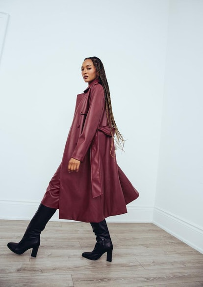 Faux Leather Maroon Trench