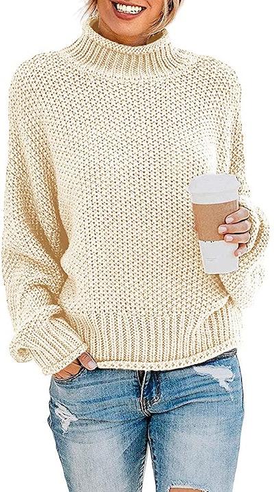 ZESICA Batwing Sleeve Turtleneck Sweater