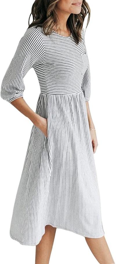 MEROKEETY Striped Midi Dress
