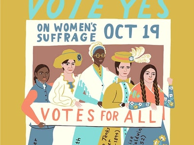 """An image of a poster with cartoon images of five suffragettes on a white and purple background with a gold border. It reads """"19th Amendment Ratified August 18, 2020"""""""