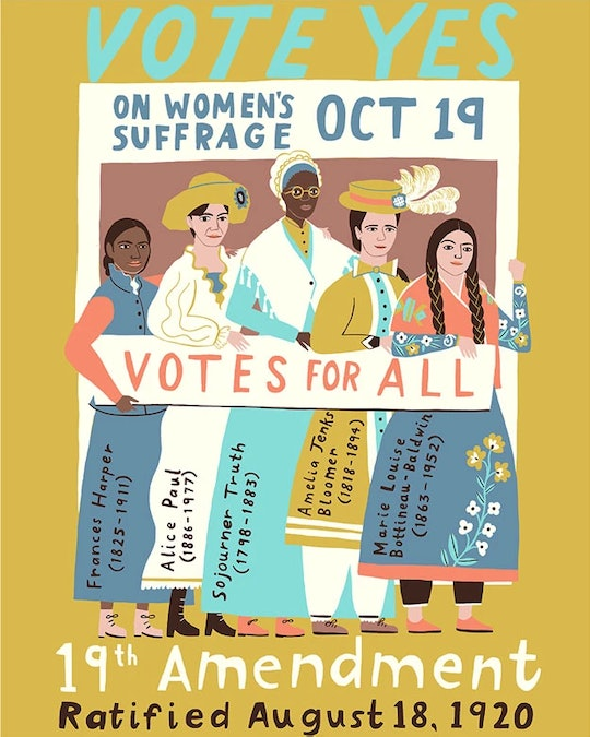 "An image of a poster with cartoon images of five suffragettes on a white and purple background with a gold border. It reads ""19th Amendment Ratified August 18, 2020"""