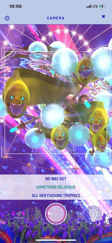 A screenshot of the game featuring trippy neon art of eels.