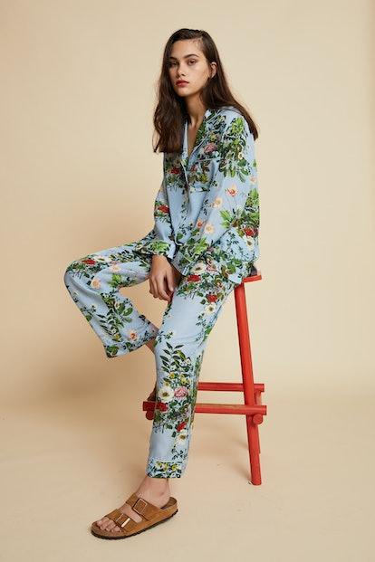 Love Letter Blue Floral Pajama Set