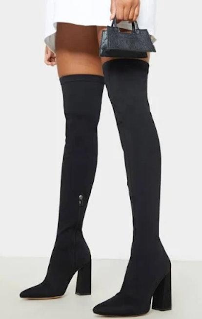 PrettyLittleThing Black High Point Lycra Thigh High Boot