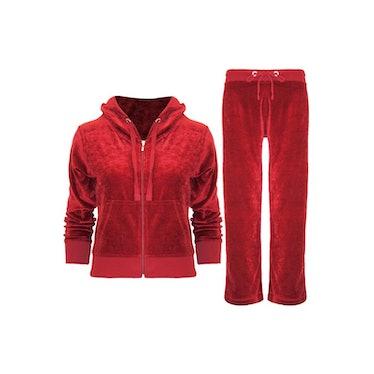 OOPSOUTLET Womens Ladies Velvet Velour Hoodies Hooded Joggers Loungewear 2PCS Tracksuit Set