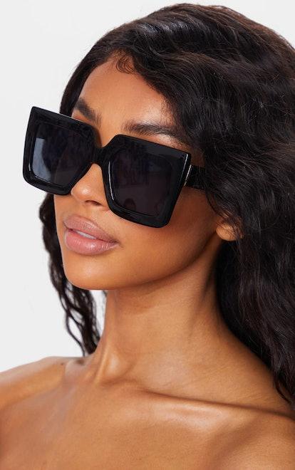 PrettyLittleThing Black Square Oversized Frame Sunglasses