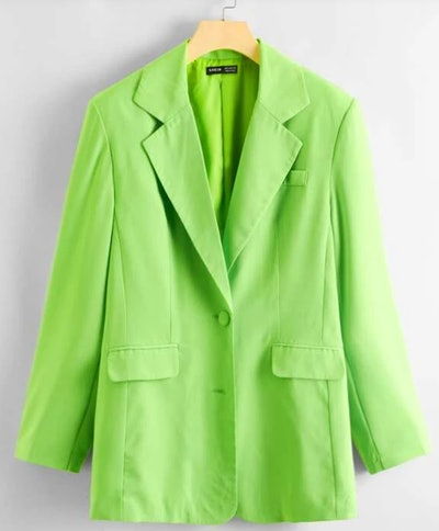 SHEIN Neon Green Lapel Neck Blazer