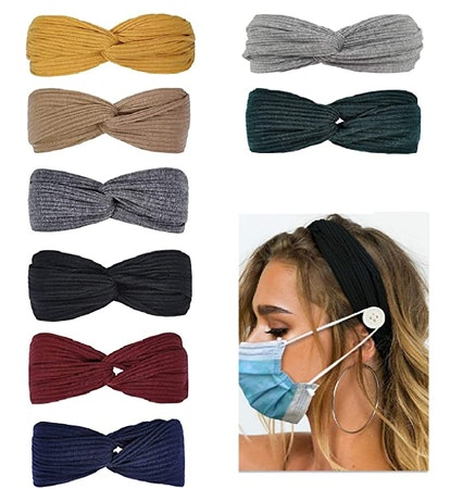 Huachi Headbands with Buttons for Mask