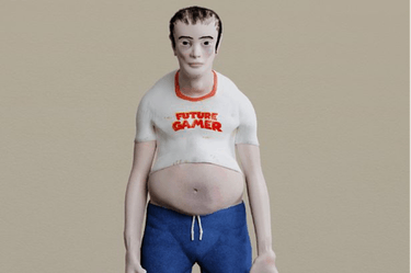 A photo of an overweight, slouching gamer with pale skin.