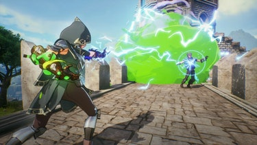 A mage attacking another mage in Spellbreak.