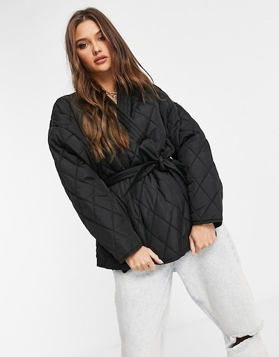 NA-KD quilted jacket in black