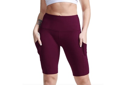 TYUIO High Waist Yoga Shorts with Pocket