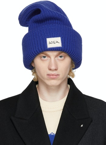 Ader Error Blue Crumple Logo Beanie