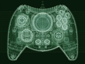 An x-ray image of the Xbox Duke Controller.