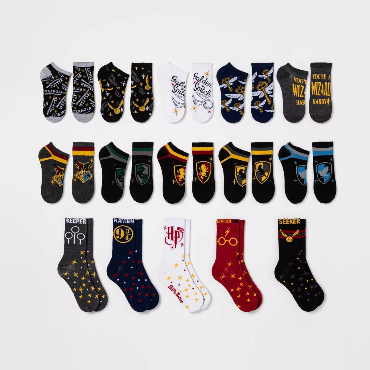 Women's Harry Potter Book Cover 15 Days of Socks Advent Calendar - Assorted Colors 4-10