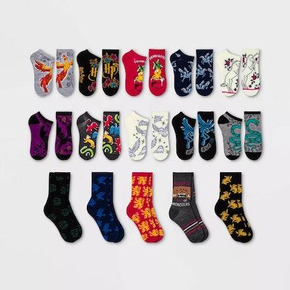 Women's Harry Potter Hogwarts Crest 15 Days of Socks Advent Calendar - Assorted Colors 4-10