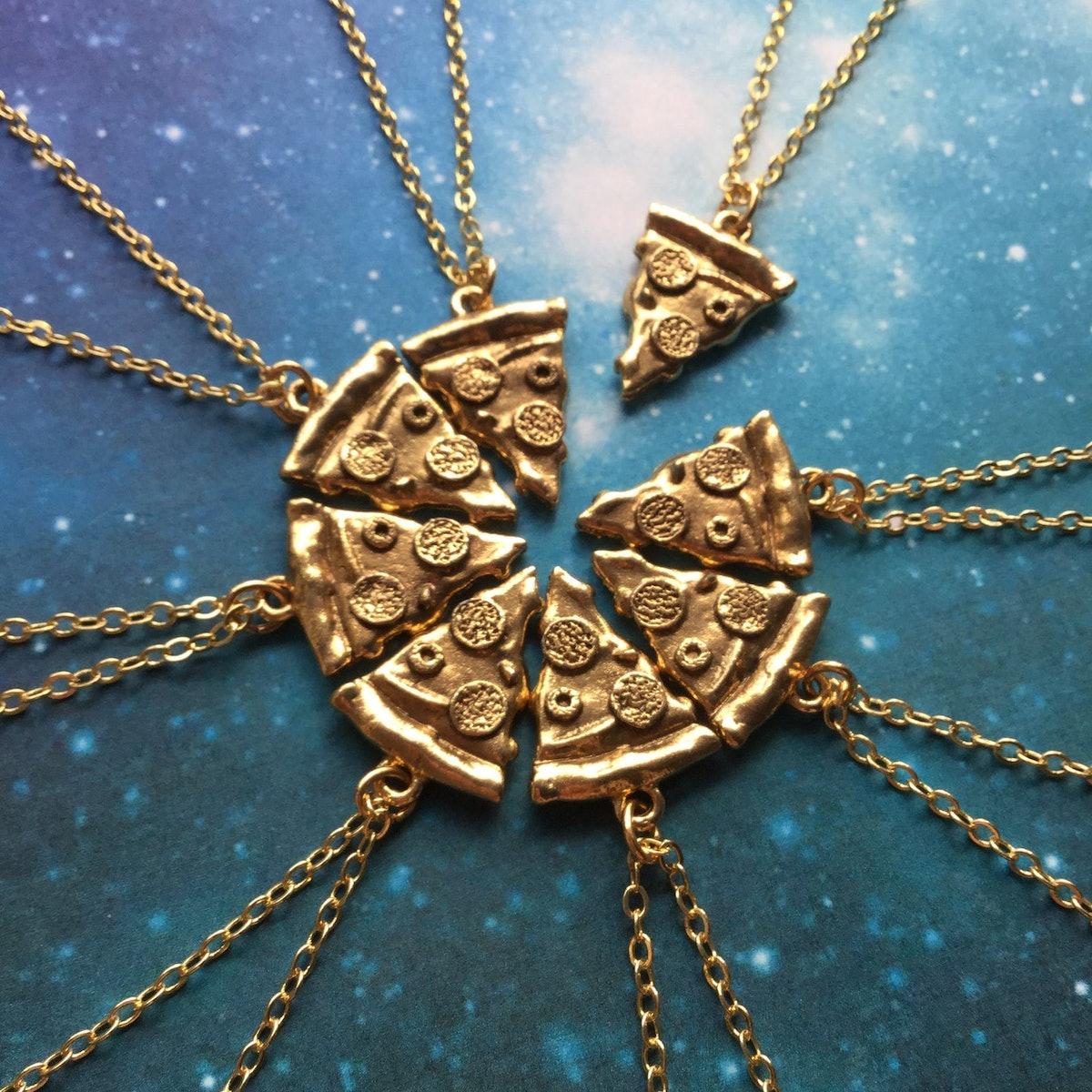Gold Pizza Slice Friendship Necklaces