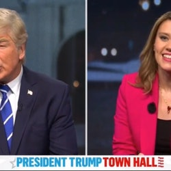 Alec Baldwin as Donald Trump & Kate McKinnon as Savannah Guthrie on 'SNL'