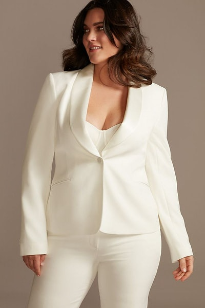 Modern Fitted Satin Lapel Plus Size Suit Jacket