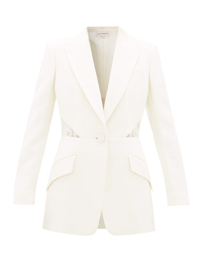 Lace Inset Single-Breasted Wool-Blend Crepe Jacket