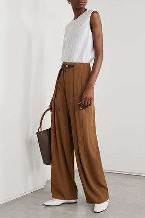Brona Belted Wool Wide-Leg Pants
