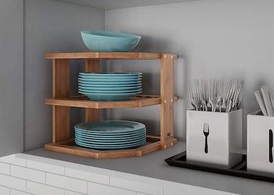 Lavish Home 3-Tier Bamboo Corner Shelf