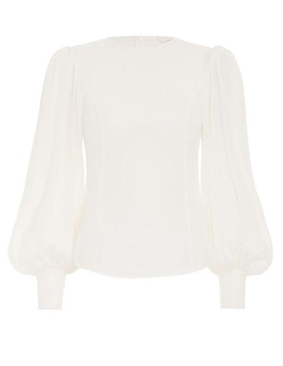 Silk Billow Sleeve Blouse