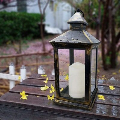Bright Zeal Tall Vintage Decorative Lantern with LED Pillar Candle