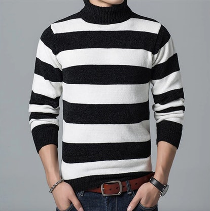 Turtleneck Striped Knitted Pullover