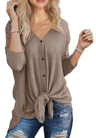 IWOLLENCE Waffle Knit Tunic