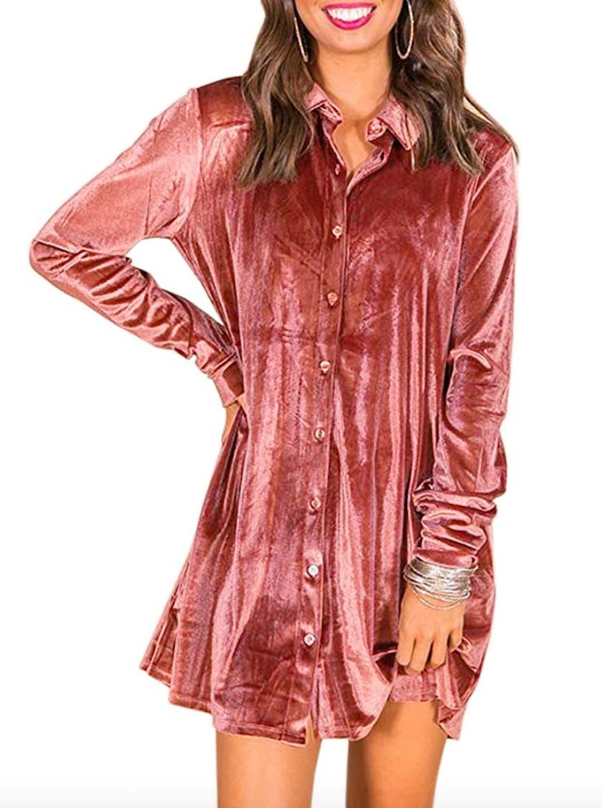 Alexis Rose from 'Schitt's Creek' would love this velvet button-down shirt dress.