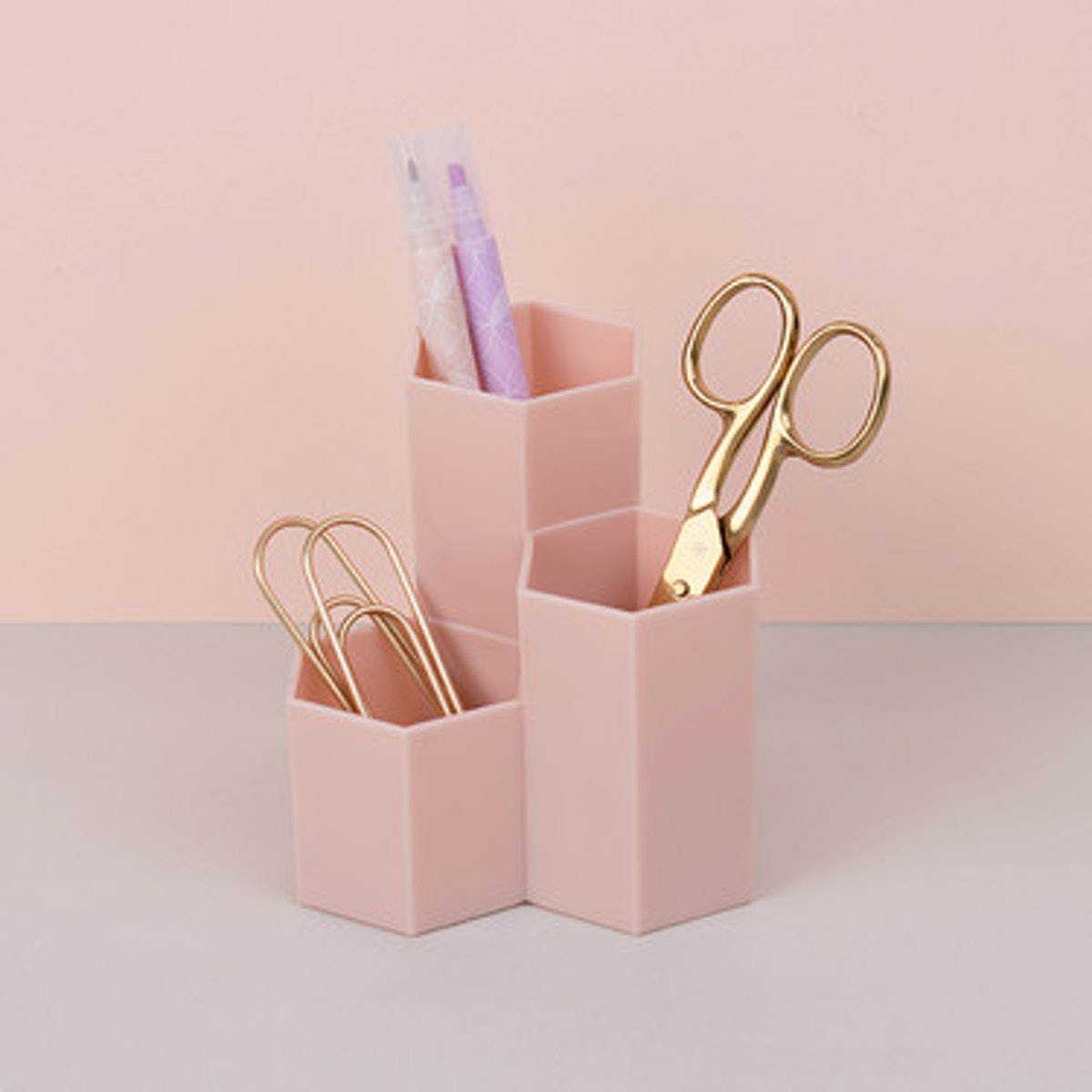 Blush Hexagon Pencil Holders