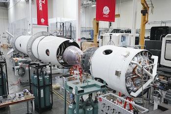 The rocket for Virgin Orbit's Launch Demo 2 in August 2020.
