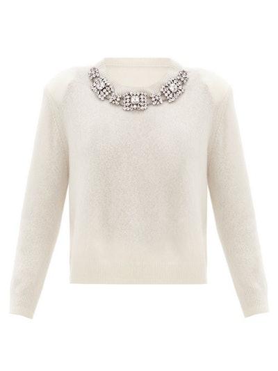 Crystal-Embellished Cashmere-Blend Sweater