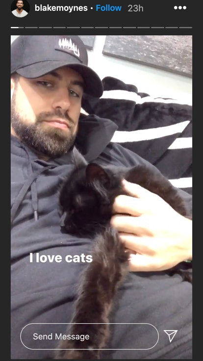 Blake Moynes with his cat after 'The Bachelorette.'