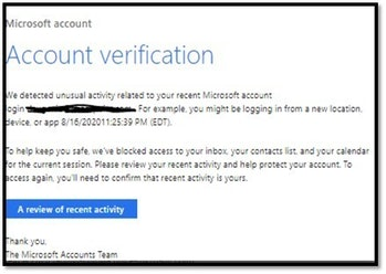 Hackers have imitated Microsoft in emails in order to trick people into handing over login credentials.