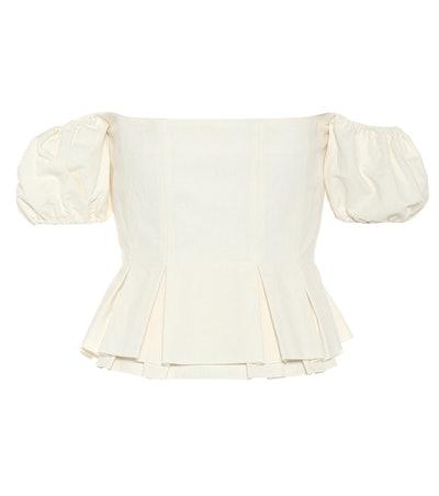 Off-The-Shoulder Cotton-Blend Top