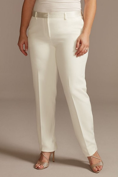 Satin Waistband Fitted Plus Size Suit Pants