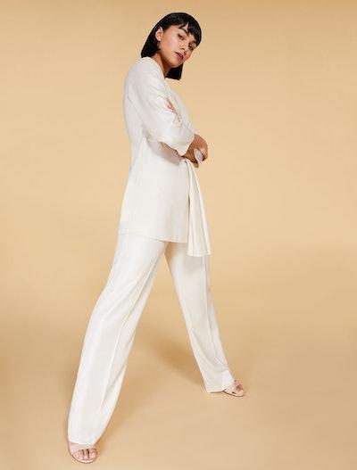 Trousers in Flowing Metallic Fabric