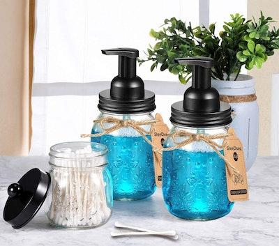 SheeChung Foaming Mason Jar Soap Dispensers (2-Pack)