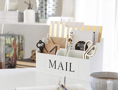 Blu Monaco White Wooden Mail Organizer