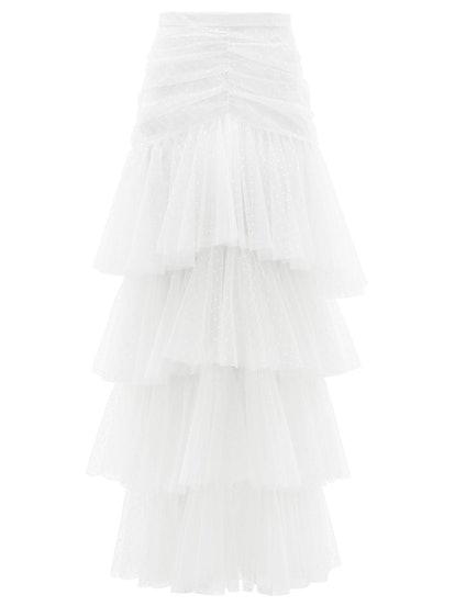 Tiered Polka-Dot Tulle Skirt