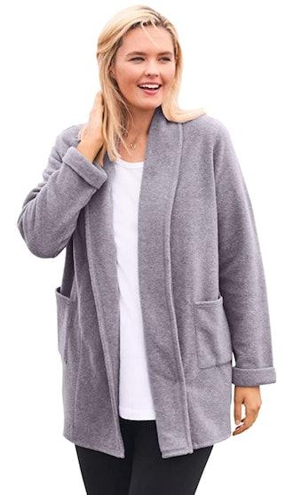 Woman Within Plus Size Fleece Cardigan