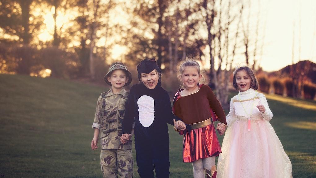 4 children on Halloween
