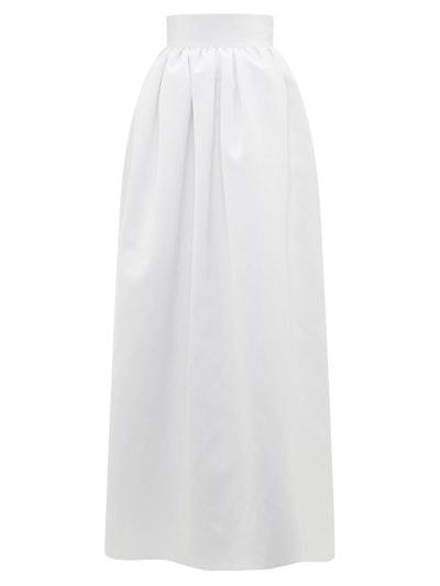 Puffed Satin Maxi Skirt