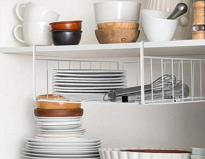 SimpleTrending Under Cabinet Organizer Shelf (2-Pack)